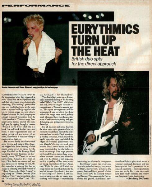 1986 09 08 Memorabilia Concert Review Eurythmics