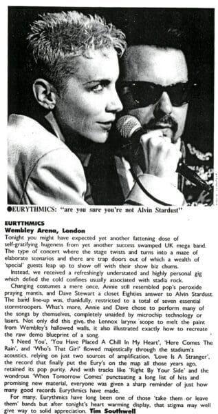1989 09 14 Memorabilia Concert Review Eurythmics 1