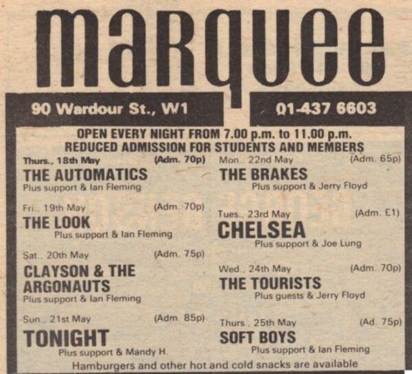 1978 05 24 Memorabilia Concert Advert The Tourists