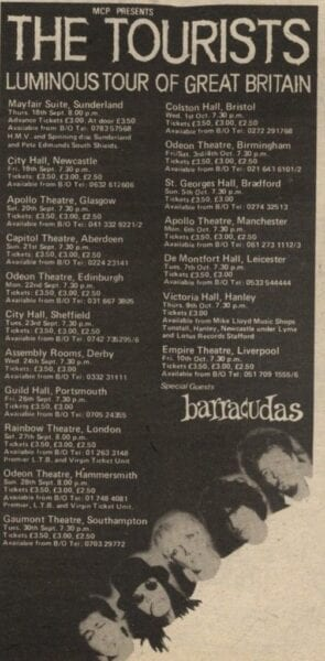 1980 09 18 Memorabilia Concert Advert The Tourists