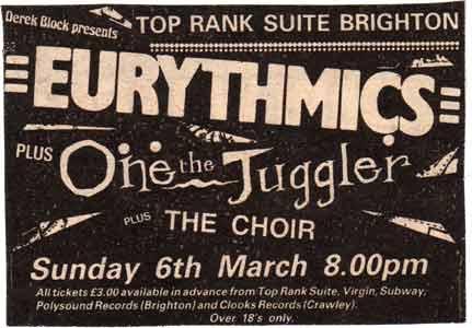 1983 03 06 Memorabilia Concert Advert Eurythmics