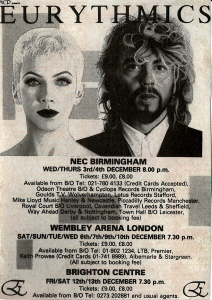 1986 12 03 Memorabilia Concert Advert Eurythmics