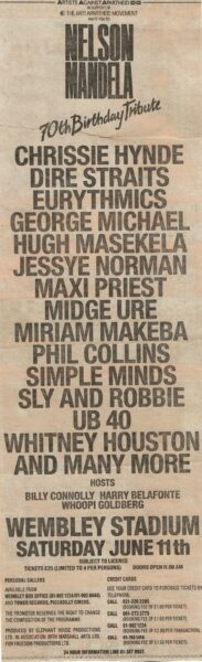 1988 06 11 Memorabilia Concert Advert Eurythmics 1