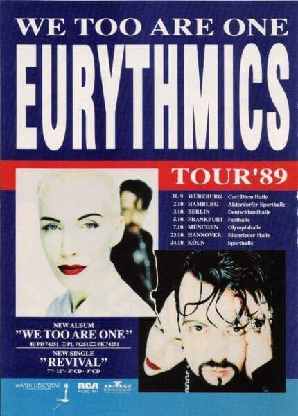 1989 09 30 Memorabilia Concert Advert Eurythmics
