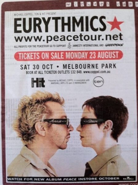 1999 10 30 d Memorabilia Concert Advert Eurythmics