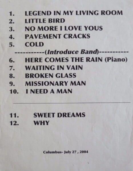 2004 07 27 Memorabilia Setlist Annie Lennox