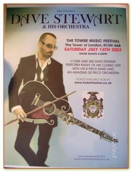 2007 07 14 Memorabilia Concert Advert Dave Stewart
