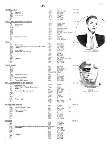 Eurythmics World Wide Discography 1990 15