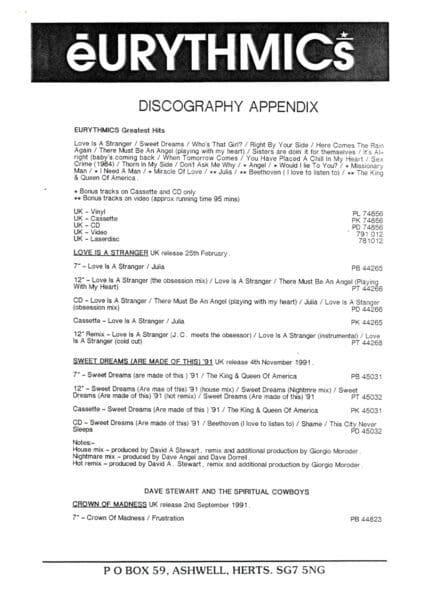 Eurythmics World Wide Discography 1990 25