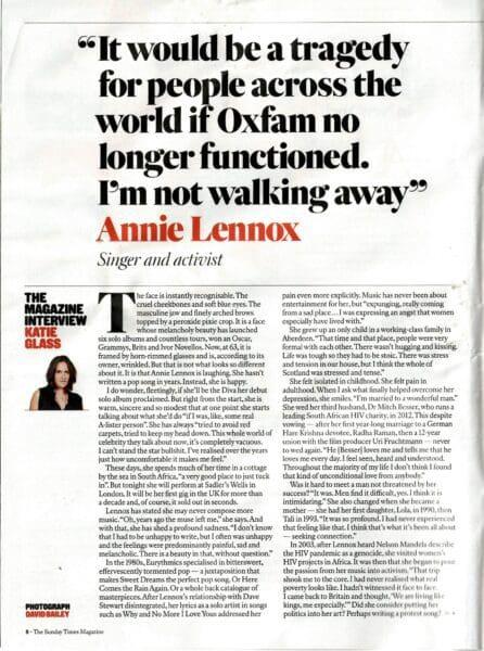 2018 03 04 Annie Lennox UK The Sunday Times Magazine 04