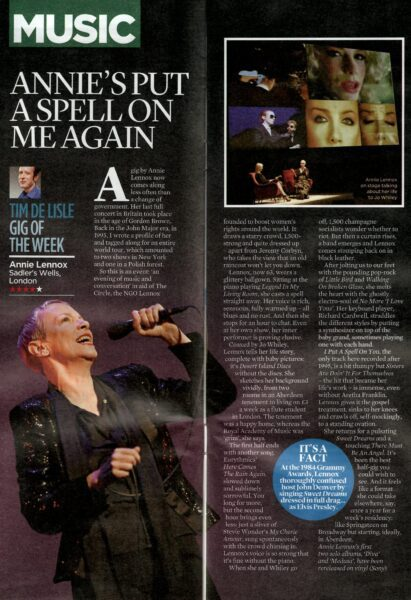 2018 03 11 Annie Lennox UK Event Magazine Mail On Sunday 03