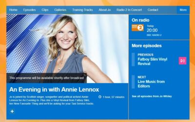 Enjoy an Evening In with Annie Lennox and Jo Whiley tonight on BBC Radio 2