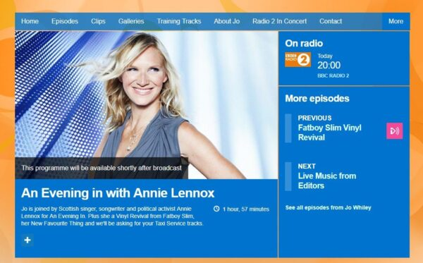 An Evening In With Annie Lennox Jo Whiley BBC Radio 2