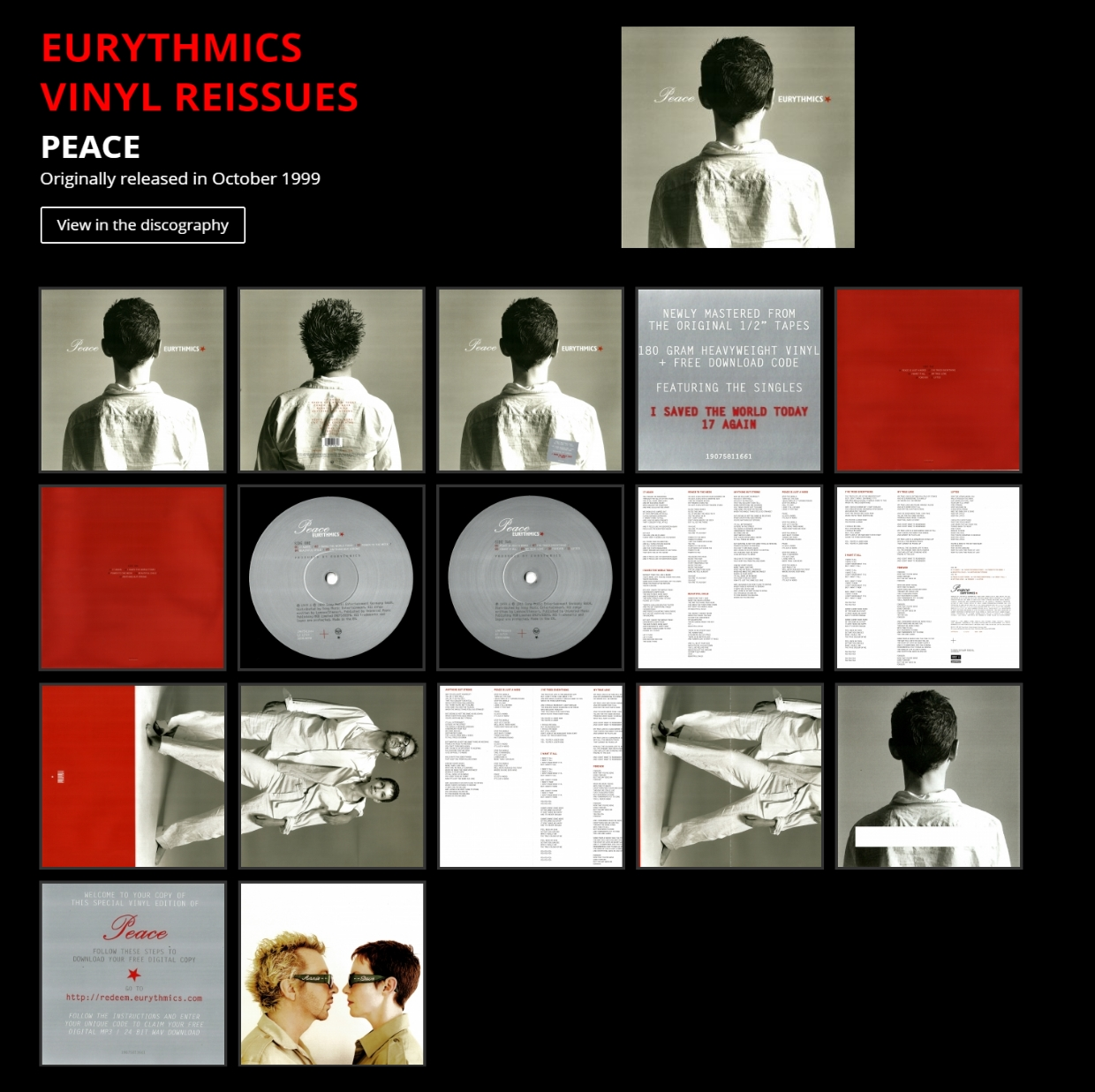 Eurythmics Vinyl Remasters 2018 Peace