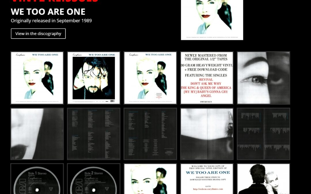 The Eurythmics album We Too Are One has been remastered and re-issued on vinyl